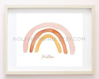 Custom Muted Rainbow Watercolor Art Print / Nursery Art Print / Name Art Print / Wall Art / 8x10 Printable / Digital Print