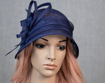 Navy blue simple and modern cloche hat for women. Blue Kentucky Derby hat. Blue Royal Ascot hat.