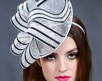 Black and white fascinator hat. Black and white saucer hat. Black and white Derby hat. Black and white Ascot hat