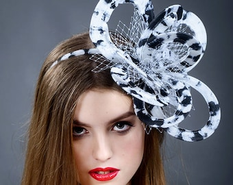 Oversized loop fascinator. Black and white large fascinator. Boho girl fascinator. Experimental designer fascinator- New in 2018 collection