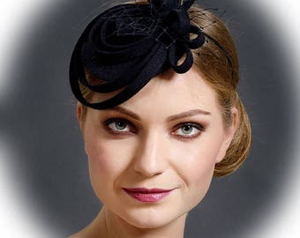 Black modern and simple fascinator hat from felt for casual wear or to be  worn at special occasions 654d109ab9c