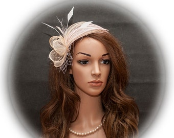 Champagne and pink fascinator, pink and beige wedding fascinator, blush pink fascinator, champagne fascinator