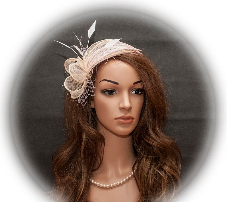 Champagne and pink fascinator pink and beige wedding image 0