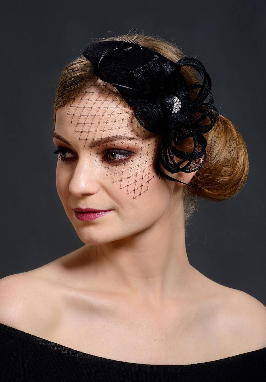 10a24f29dc0b9 Black fascinator. Black elegant fascinator with face veil.