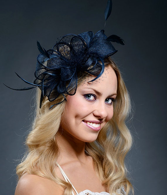 285e88a8aa864 Navy large couture wedding fascinator with feathers and