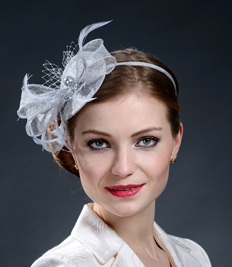 cf8760888316a Light grey fascinator hat for Derby Ascot weddings parties