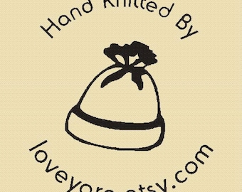 Hand Knitted By - Rubber Stamp -  Design R018