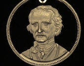 EDGAR ALLAN POE - Great American Writer - cut coin jewelry - Hand Cut from Large Bronze Medallion -