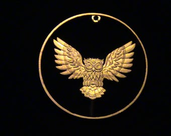 BRAND NEW - .999 Pure Copper - OWL Medallion - cut coin pendant
