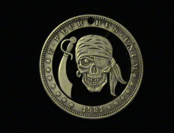 Zombie Pirate - Hobo Nickel Style Cut Coin Pendant