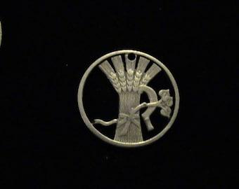 Czechoslovakia - cut coin pendant - Wheat Sheath, Sickle and and Lindon - 1924