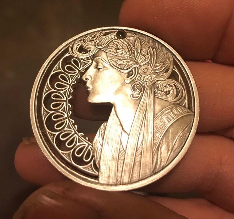 Alphonse Mucha - GORGEOUS - Art Nouveau cut coin pendant - MASTERPIECE -   999 Antique Silver