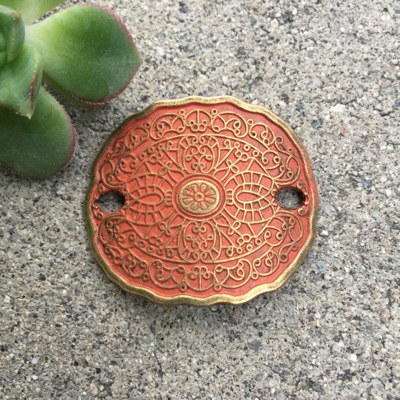 ethnic boho bracelet plate 1 pc hand altered pumpkin orange focal Bracelet connector