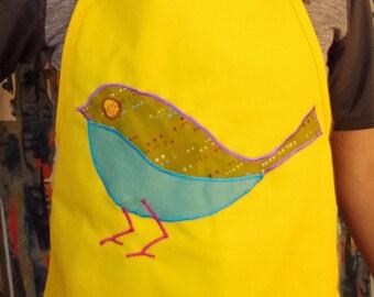 Yellow Apron/Smock with Bird