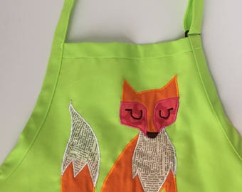 Lime Green Apron/Smock with Fox