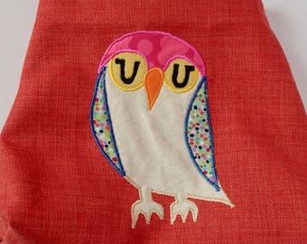Orange Crossbody Bag with Owl