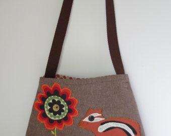 Brown Shoulder Bag with Chipmunk and Flower