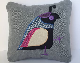 """Grey PIllow with Quail 12x12"""""""