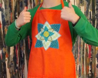 Orange Aprock with Mandala/Flower Design