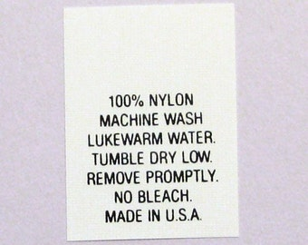 50-50 Poly Cotton Machine Wash Care Sew In Labels Qty 100 Number 13