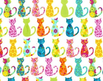 Three (3) Yards - Calico Cat Multi Colored Fabric Michael Miller CX4911-WHIT-D