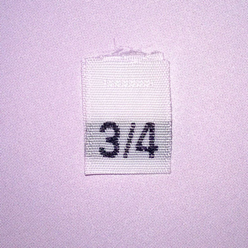 0abe8239fa3f Size 3/4 (Three-Four) Woven Clothing Size Tags - White