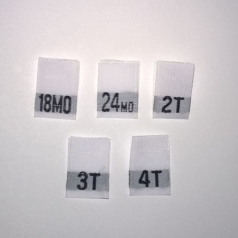 2d29b675605d Mixed Toddler Woven Clothing Size Tags Labels 18mo-24mo-2T-3T-4T-White