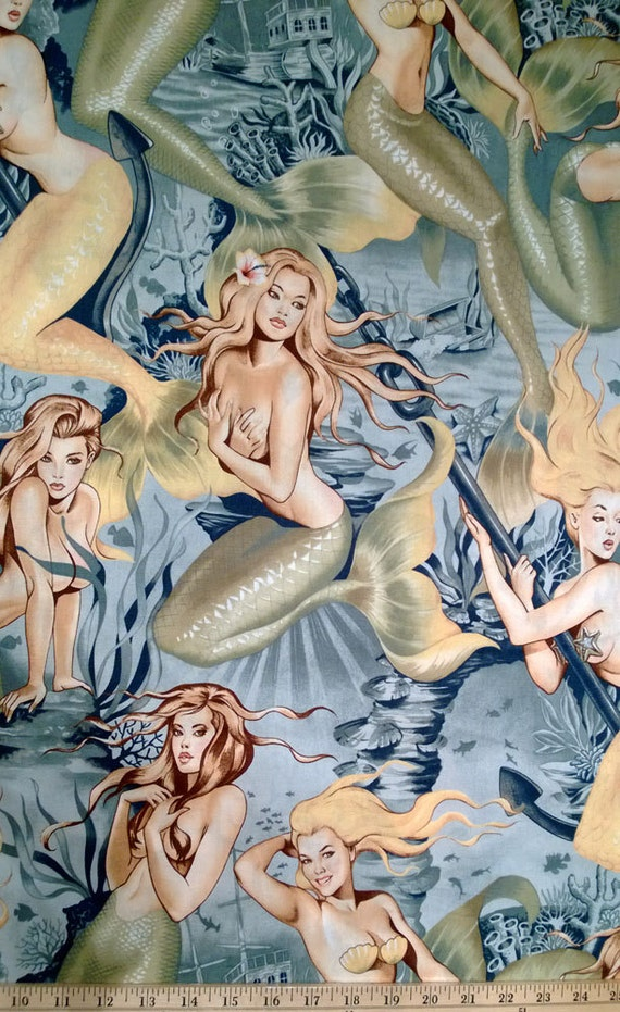 Sea Sirens Mermaids 100/% COTTON FABRIC BY ALEXANDER HENRY BY THE YARD