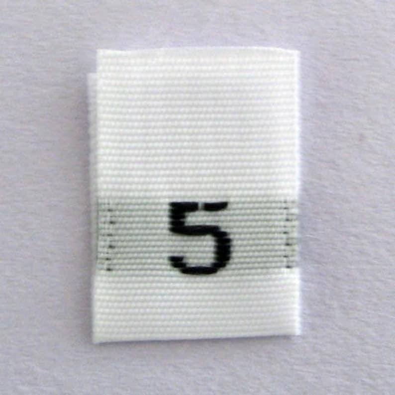 b9e93271a1c2 Size 5 (Five) Woven Clothing Size Tags- White