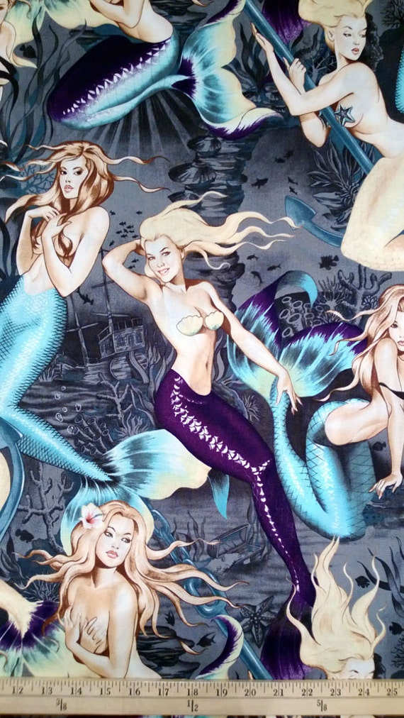 BY YARD-Sea Sirens Mermaid Fabric Pin Up Girls Alexander Henry 7825A Blue