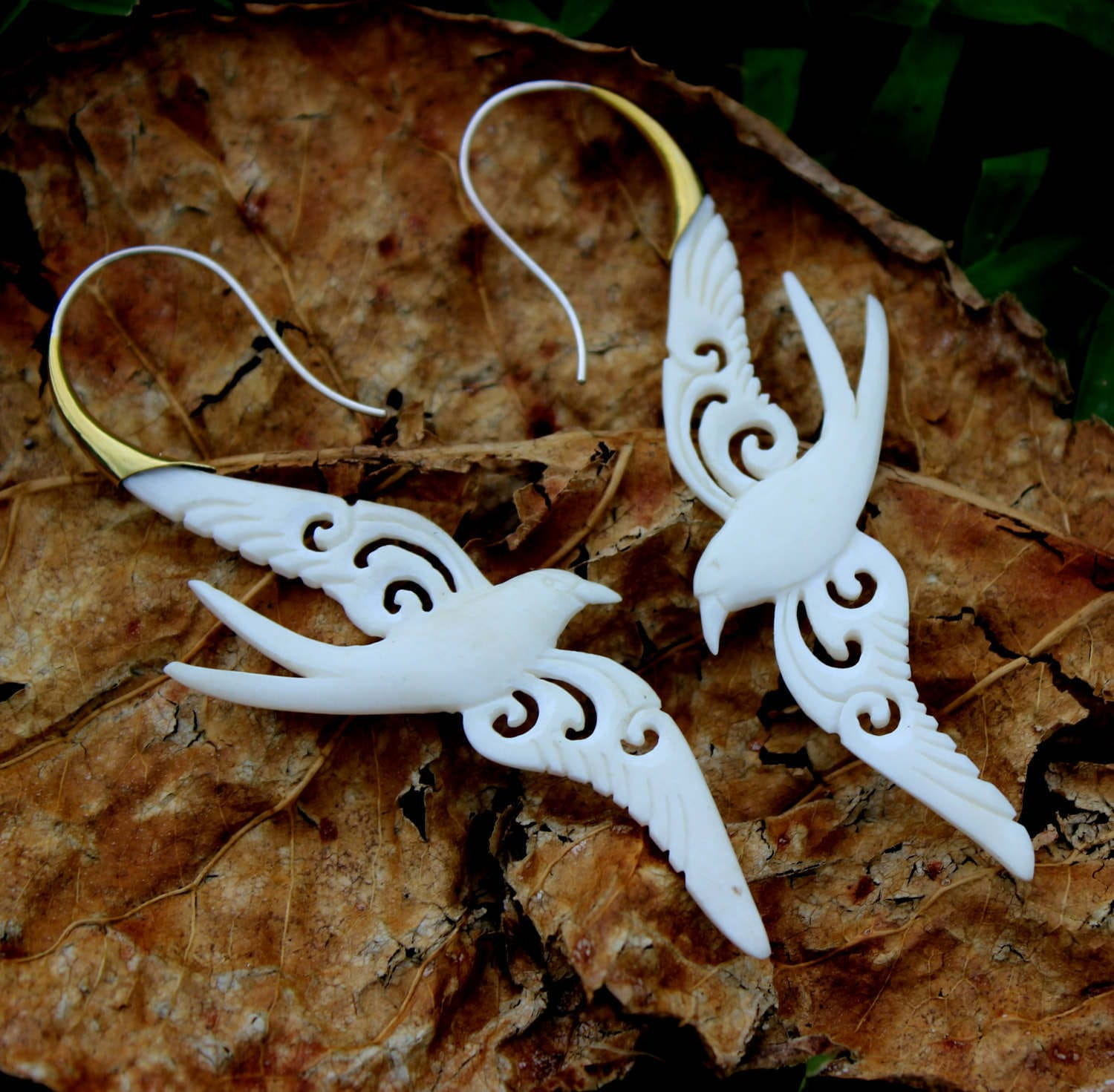 Organic Carved Bone Earrings For Regular Pierced Ears Faux Gauge Earrings Handmade Jewelry
