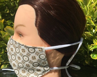 Reversible Fitted Cotton Face Mask~Tan Medallions/Cotton Mask/Personal Mask/Dust Mask/Facial Covering/Washable/Reusable by Allica Designs