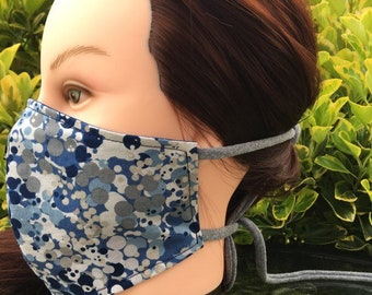 Reversible Fitted Cotton Face Mask~Blue Dots/Blue/Personal Mask/Dust Mask/Facial Covering/Washable/Reusable by Allica Designs