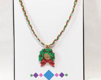 Christmas Wreath Pendant Necklace - Free Shipping in the US