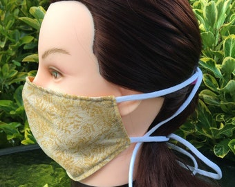 Cotton Face Mask~Gold Floral/Cotton Mask/Personal Mask/Dust Mask/Facial Covering/Washable/Reusable by Allica Designs