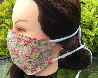 Reversible Fitted Cotton Face Mask~Pink Floral/Floral Mask/Personal Mask/Dust Mask/Facial Covering/Washable/Reusable by Allica Designs