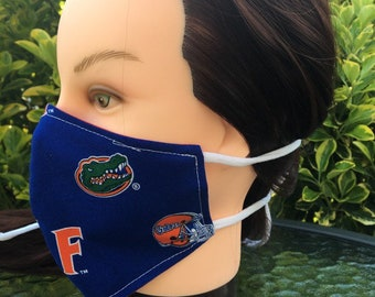 Reversible Fitted Cotton Face Mask~ Florida Gators/Unisex Mask/Personal Mask/Dust Mask/Facial Covering/Washable/Reusable by Allica Designs