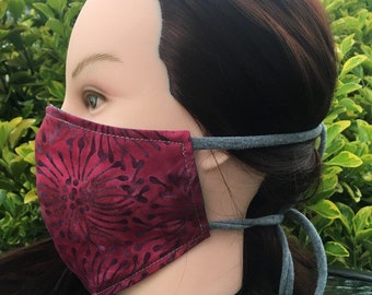 Reversible Fitted Cotton Face Mask~Burgundy Batik/Personal Mask/Dust Mask/Facial Covering/Washable/Reusable by Allica Designs