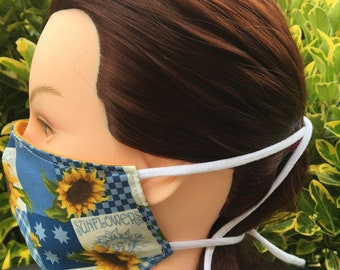 Cotton Face Mask~Sunflowers/Cotton Mask/Personal Mask/Dust Mask/Facial Covering/Washable/Reusable by Allica Designs