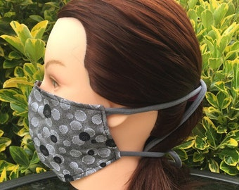 Cotton Face Mask~Black and Gray Dots/Cotton Mask/Personal Mask/Dust Mask/Facial Covering/Washable/Reusable by Allica Designs
