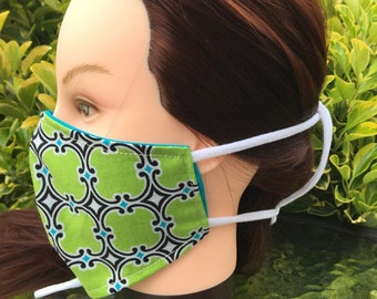 Reversible Fitted Cotton Face Mask~Lime Green/Turquoise/Personal Mask/Dust Mask/Facial Covering/Washable/Reusable by Allica Designs