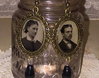 Victorian Gem Tin Type Photo Earrings with Edwardian Era Black Glass Drops