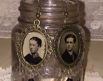 Victorian Gem Tin Type Photo Frame Earrings with Edwardian Black Glass Drops