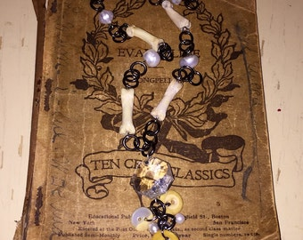 Coyote Bone Freshwater Pearl and Vintage Chandelier Prism Crystal Necklace with Pearl and Button Dangle