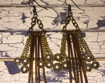 Vintage Urban Chic Gold Metal Fringe and Pearl Dangle Earrings Rocker Chic Steampunk
