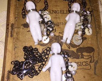 Antique Porcelain Frozen Charlotte Doll Necklace with Pearl and Antique Shell Button Dangle Your Choice