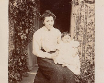 Original Vintage RPPC Photograph Baby on Woman's Lap Lizzie & Phyliss 1900s-10s