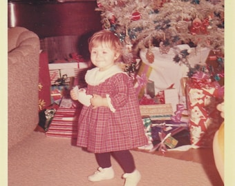 Original Vintage Color Photograph Small Girl by Christmas Tree & Gifts 1965
