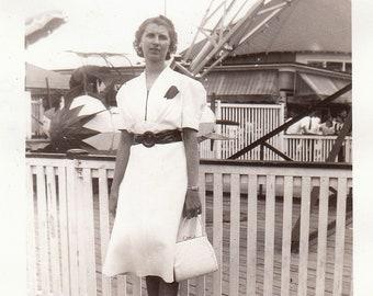 Original Vintage Photograph Snapshot Woman Posing by Carnival Fair Rides 1930s-40s