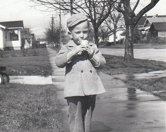 Original Vintage Photograph Snapshot Small Boy Eating Ice Cream Cone 1947
